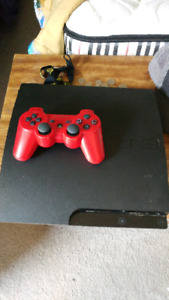 PS3 Slim 150gb with games red controller and camera
