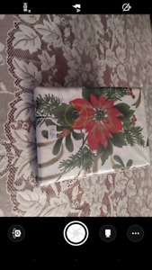Christmas Table Cloth-Ivory with Christmas Florals 60x102