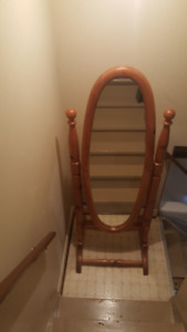 Free standing cheval pine mirror