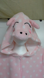 adult hooded pink pig onesie pajama / costume size XL. NEW