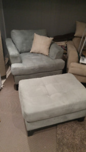 *Like New* Oversized Suede Chair & Ottomon