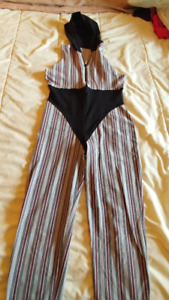 Women's black, grey and maroon pinstripe jumpsuit