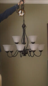 LOVELY  STYLIST 9 SHADE CHANDELIER (GREAT PRICE)