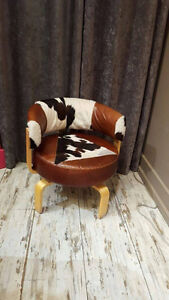 Refurbished leather and cowhide chair - excellent condition