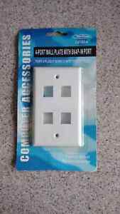 4-Port Wall Plate with Snap-in Port