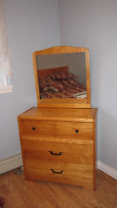 3/4 bed, dresser and mirror