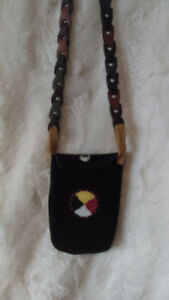 Hand made dark brown suede cellphone case beaded.