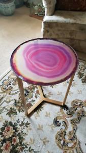Decorative glass top  table geode rock slice very rare