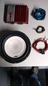 Car amplifier and sub woofer speaker