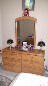 Dresser with mirror and matching nightstand.