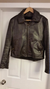 Nice Vintage Brown Leather Motorcycle Jacket - Men's Size Medium