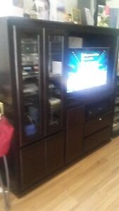 BLACK STERIO AND TV CABINET CUSTOM MADE