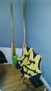 hard wood oars, new life jackets, new cod fishing line
