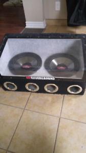 "2 12"" Subs with enclosed box and 600w amp"