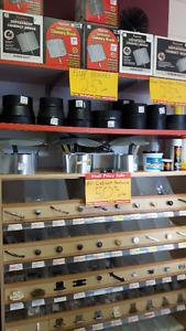 Stove Pipe, Sanding Belts, Sockets, Kettles, Cabinet Ha