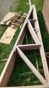 """Trusses for sale $80 each. 26'. Rise 4"""" for every foot."""