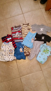 Lot of boys sleepers and clothing size 6-9 months