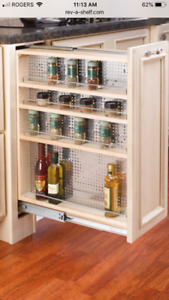 LUXURY CABINET PULLOUT ORGANIZER WOOD SHELVES w/ MAGNETIC St.Stl