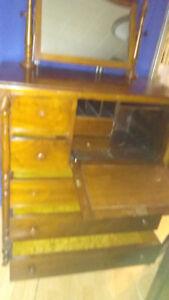 Solid WOOD DRESSER w/ Swing Mirror & Desk Like