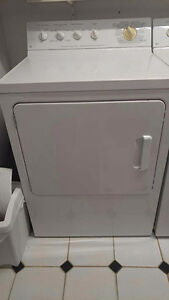 WHITE ELECTRIC GE WASHER + DRYER