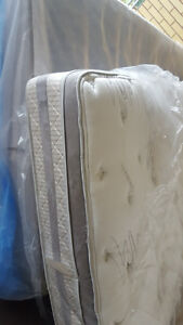 Queen size pillow top mattress and box spring  200.00, VERY CLEA