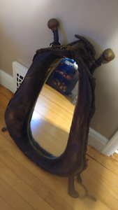 Vintage Horse Collar Mirror with spurs $60