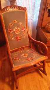 Oak rocking chair with needle point seat