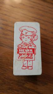 Vintage 2 Petites Aimants Campbells Soupe Publicité ancien