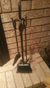3 Piece Wrought Iron  Fireplace Tool Set