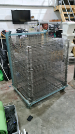 Solid metal drying rack on castors