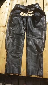 2 Pair Leather Unisex Black Leather Riding Chaps