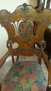 antique reupholstered quarter cut rocking chair, applied carving Cambridge Kitchener Area image 2
