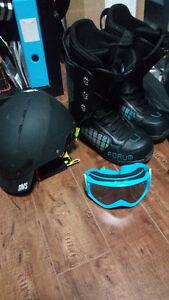 Snowboard - Bindings ,Boots, Goggles,Helmet