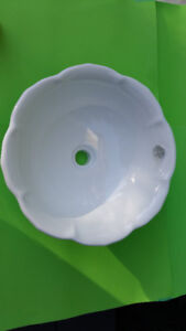 Brand new: white porcelain bathroom vessel sink, scalloped edge