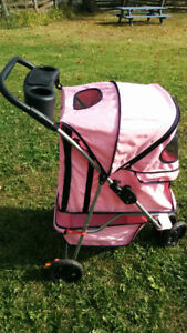 Large pink dog/pet stroller with cup holder