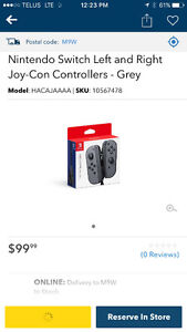New Nintendo Switch Left and Right joy-con controller. Gray.