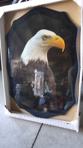 Laminated American Eagle Portrait and Clock