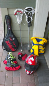 Various sporting equipment