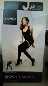 Sigvaris black Thigh-Hi Compression Stockings (4 pairs) - UNOPEN