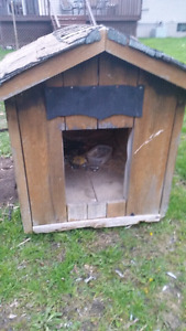 Outdoor solid wood dog house