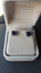 Blue and white sapphire earrings