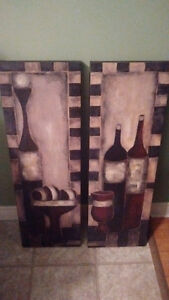 Two Modern Art Pictures Paintings Wine Bottles, Nice, Like New!