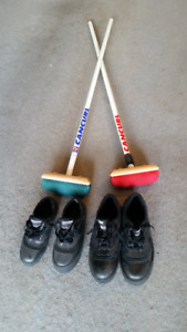 Curling Equipment / shoes, broom, slider