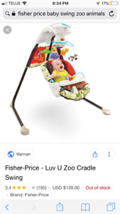 Fisher price baby swing Luv you zoo cradle swing