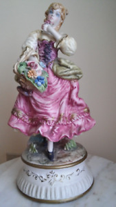 Antique big size Italian (Capodimonte) woman figurine.