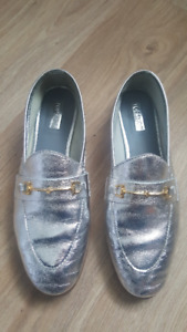 Silver Leather TOPSHOP Women Loafers Shoes size 8