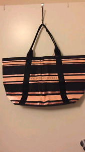 Black and pink striped tote VS PINK bag