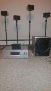Sony 5.1 surround sound system with speaker stands