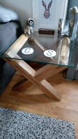 Solid heavy oak glass table