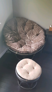 Pier 1 Papasan Chair & Matching Foot Stool